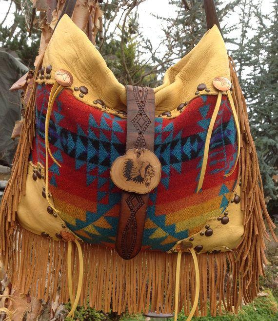 Pendleton Wool & Elkhide Bag/ Vintage Findings by DoubleJOriginals