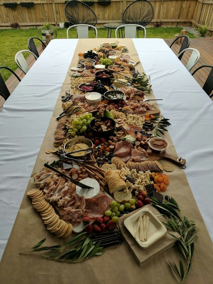Table long charcuterie board!  Photo from Reddit.