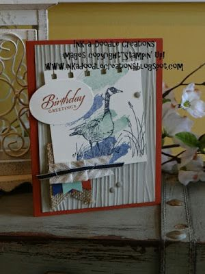 stampin up, wetland, masculine, ssinkspiration, burlap, ink a doodle creations, birthday homemade cards, woodgrain, work of art