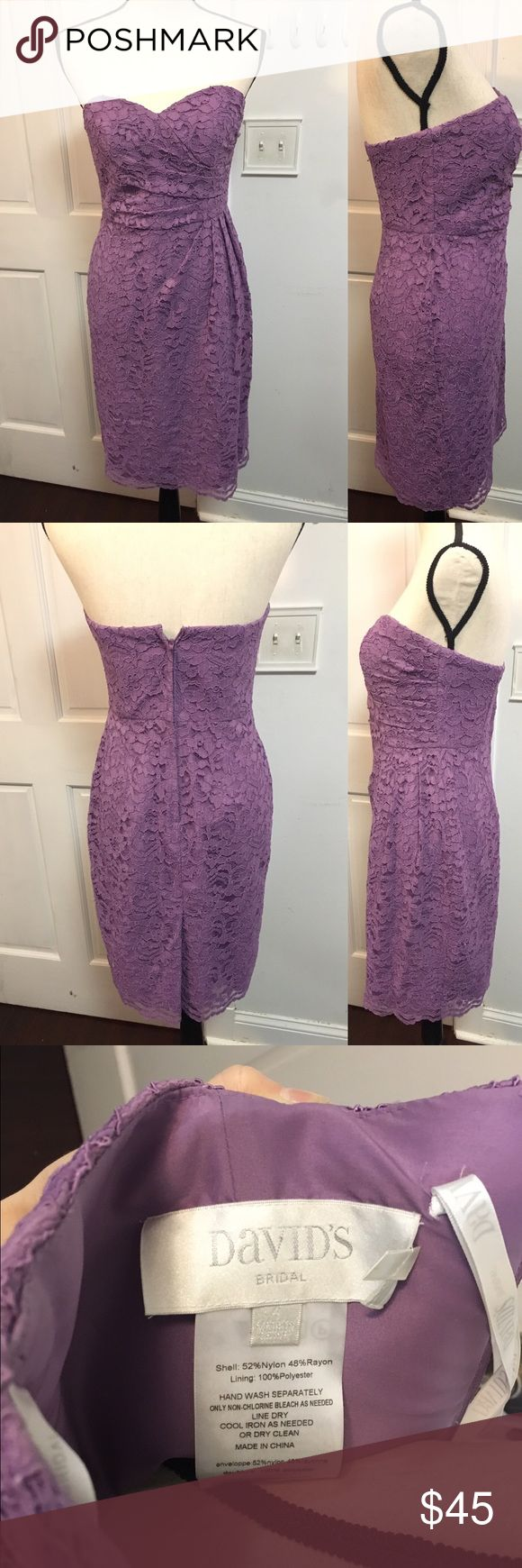 Lavender Lace Strapless Dress Sz 4 Beautiful dress for occasions! In great condition. Size 4 David's Bridal Dresses Strapless