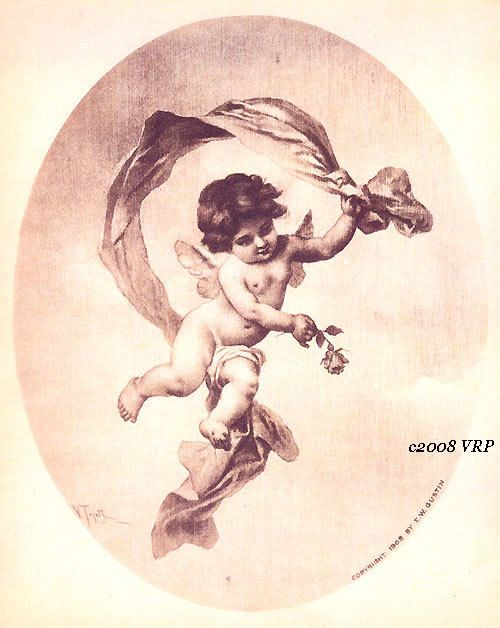 PRINT FREE SHIP Victorian Cupid and Rose Tojetti