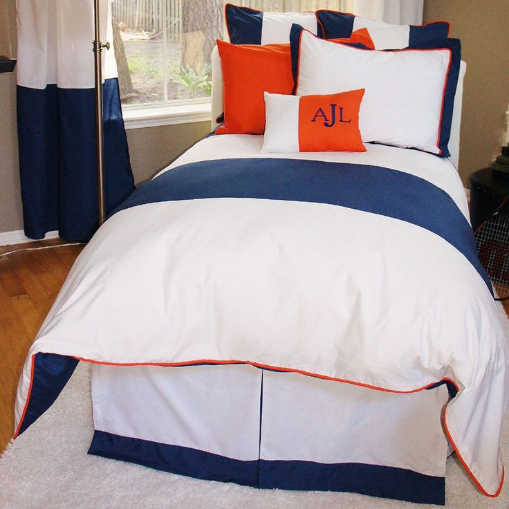 navy + orange boy's room