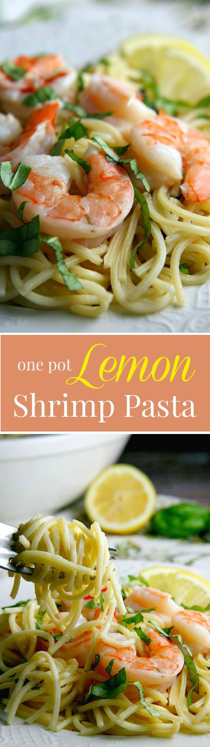 Lemon Shrimp Pasta with a delicious creamy sauce...easy 15 minute one pot meal! Perfect dinner recipe for busy families.