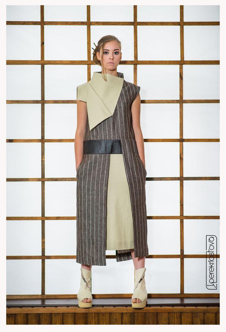 Платье в полоску с асимметричным верхом - J.Perekriostova
