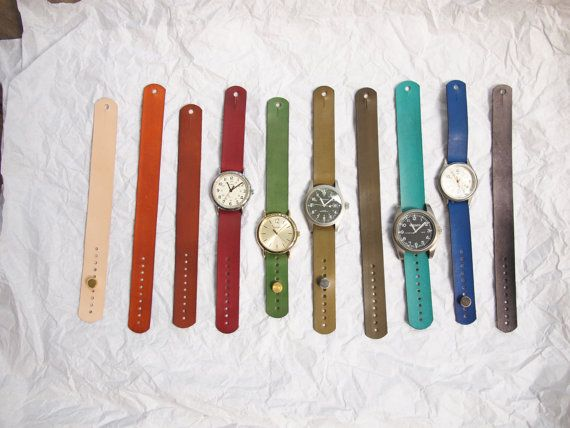 Handmade leather watch straps. Set of Two Leather Watch Bands For Timex Weekender, J.Crew watches or Similar, $34