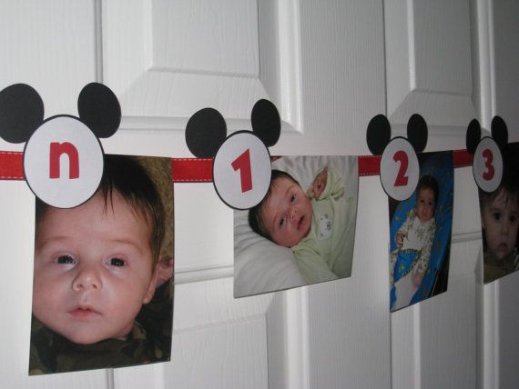 Mickey Mouse First Year Photo Tags  Birth by LittleBirdiPaperShop, $9.50