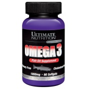 Ultimate Nutrition Omega 3 (1000mg) 90 softgels  Omega 3 consists of fatty acids like EPA and DHA. These fatty acids promote a healthy heart, skin, eye, brain, joint and digestive tract. Supportive but not conclusive research shows that consumption of EPA and DHA Omega 3 fatty acids may reduce the risk of coronary heart disease.   For more info visit: http://www.gymandfitness.com.au/ultimate-nutrition-omega-3-1000mg-90-softgels.html