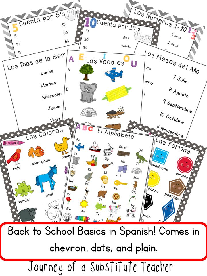 Back to school Spanish Posters #b2s13