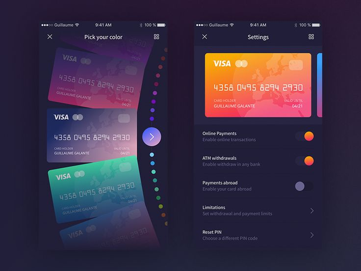 Banking App - Settings by Guillaume Galante