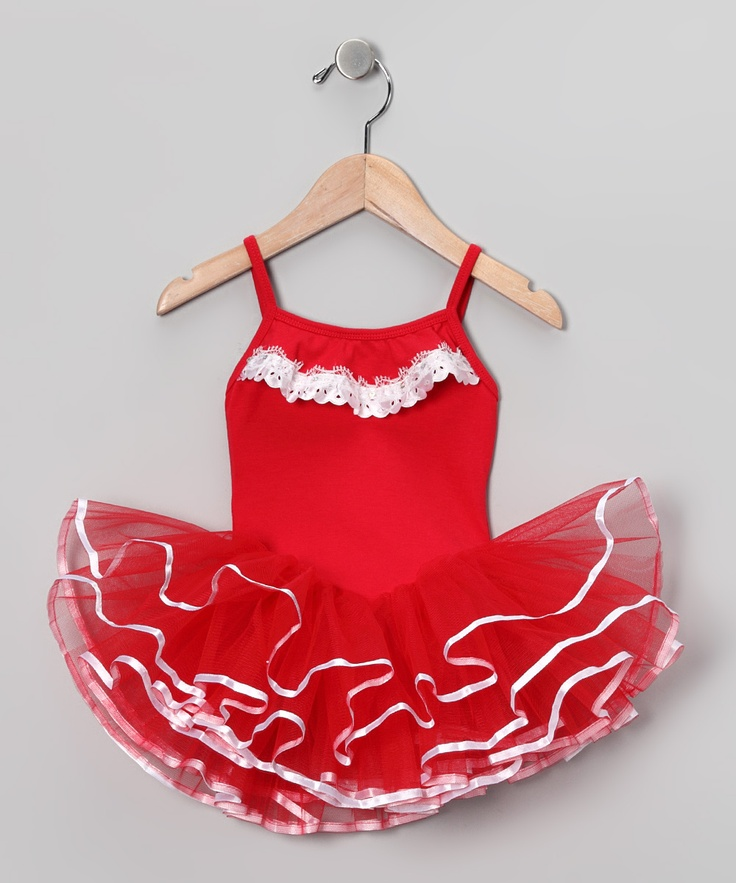 Red & White Lace Leotard - Toddler & Girls