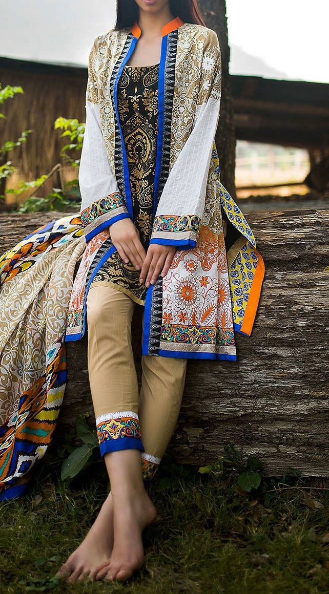 Buy Multicolor Embroidered Cotton Lawn Dress by Zunn 2016