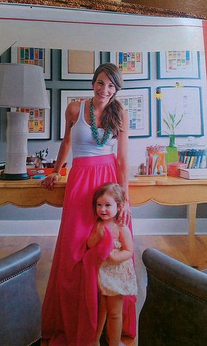 Erika of Urban Grace Interiors featured in Better Homes and Gardens // via Fly Through of WindowColors Combos, White Tanks, Long Skirts, Turquoise Necklace, Pink Maxis, Hot Pink, Mom Outfit, Maxi Skirts, Maxis Skirts