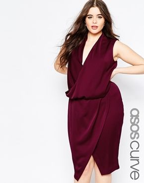 Asos curve wedding cowl midi dress plus size fashion for Plus size midi dresses for weddings