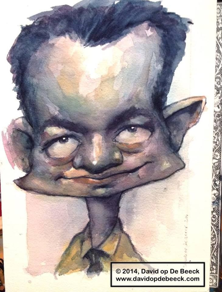 watercolor caricature of Marvin Lorenz, painted january 2014.