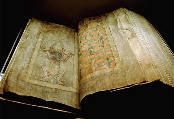 """the """"Codex Gigas"""", or Devil's Bible.  Named because of the large hand painted image of the devil.  it is a Bible.  Dates from the middle ages.  One of the world's most mysterious books."""