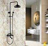 Luxury Oil Rubbed Bronze Bath Shower Faucet Set 8″ Rain Shower Head + Hand Shower Spray