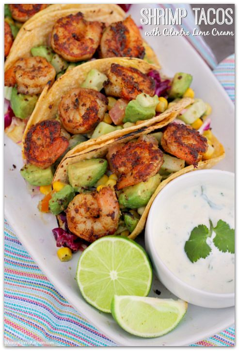 Shrimp Tacos with Cilantro Lime Cream | Mama Harris' Kitchen
