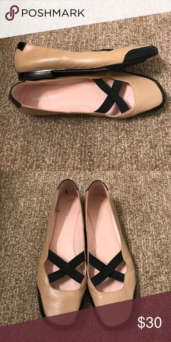 "Taryn Rose WM Sz 8M Tan & Black Patent Leather Women's Size 8 Medium  Tan Leather & Black Patent Leather Slip On Ballet Flat Shoe Black 'X' Elastic Accent Across Toes Heel Height: 0.5"" Taryn Rose Shoes Flats & Loafers"