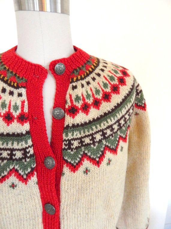 Hand Knit Vintage Norwegian Cardigan Sweater by VintageZipper
