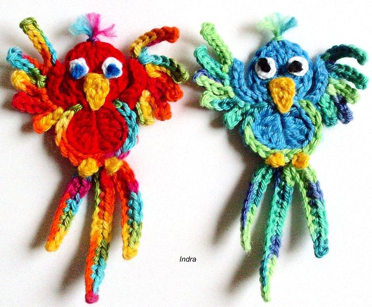 1 Papagei gehäkelt Häkelapplikation Häkelblume von                   ✿Ƹ̵̡Ӝ̵̨̄Ʒ✿  Indra  ✿Ƹ̵̡Ӝ̵̨̄Ʒ✿ auf DaWanda.com