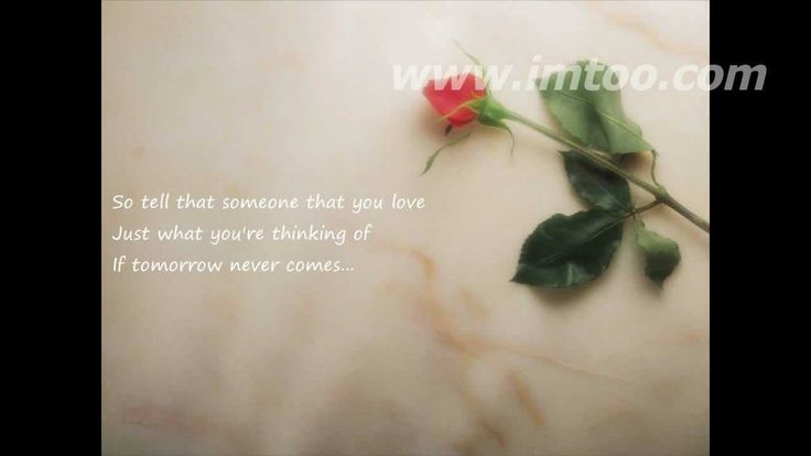 """If Tomorrow Never Comes- Garth Brooks...""""So tell that someone that you love,just what your thinking of...If tomorrow never comes..."""""""