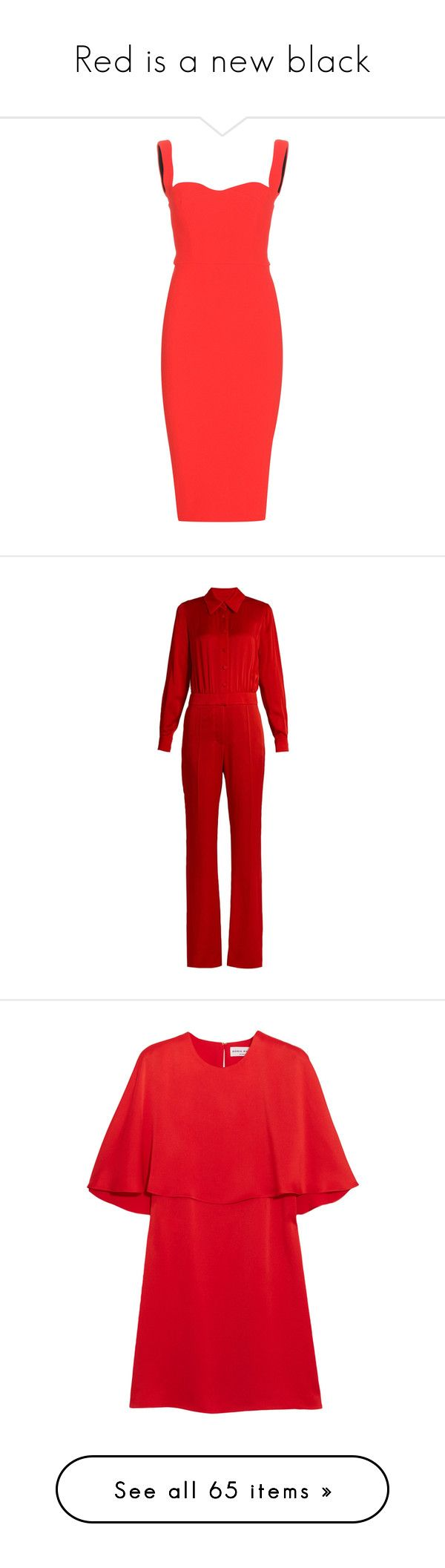 """""""Red is a new black"""" by renesmi ❤ liked on Polyvore featuring red, RedLove, dresses, victoria beckham, vestidos, red camisole, camisole dress, fitted dresses, red cami and jumpsuits"""