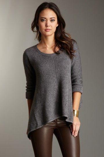 Zen Sweaters Asymmetrical Hem Sweater