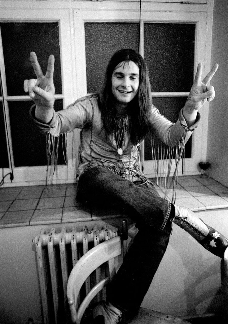 "Ozzy Osbourne pictured backstage in 1971. He said of Sabbath's early commercial success: """"At one time I just wanted to get a record in the charts and when we did it was amazing. It's not changed any of us, we just want to go on playing good music and making people happy."""