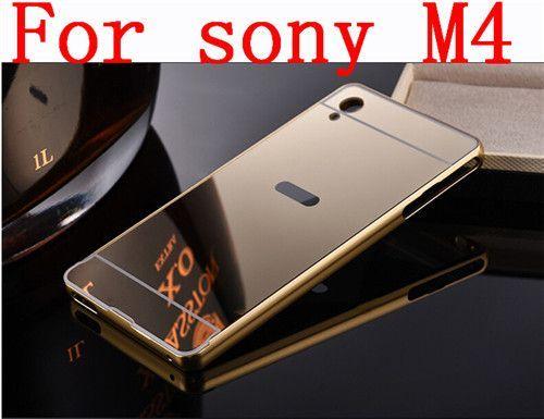 Luxury Aluminum Mirror Bumper for Sony Xperia M4 aqua Frame PC Back Cover Metal Coque Funda For Sony Xperia M4 Z3 Z4 Case Mirror