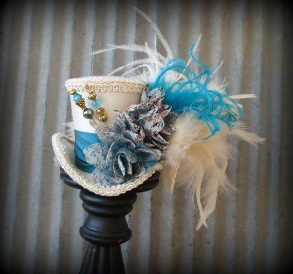 Peacock Blue and Cream Mini Top Hat, Alice in Wonderland,Mad Hatter Hat, Steampunk mini top, Tea Party Wedding Mini top hat, Tea Party Hat