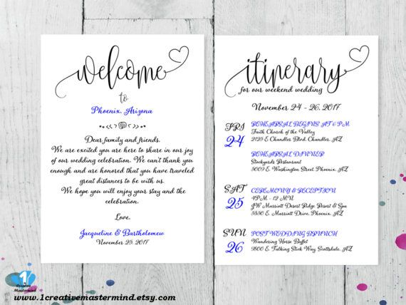 Welcome Bag Note Letter Wedding