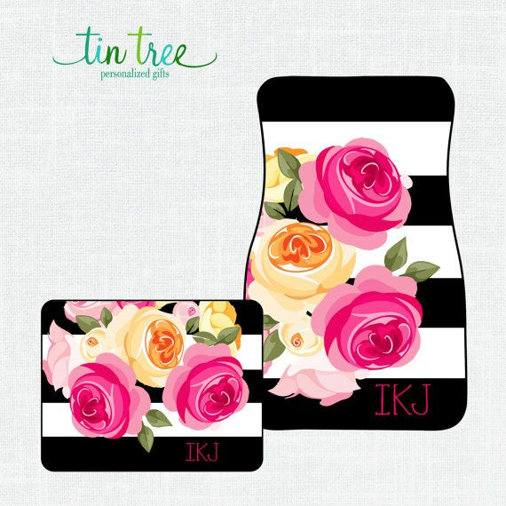 Personalized Car Floor Mats- Pink Floral