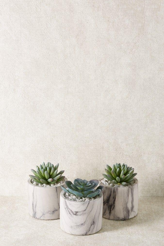 Set Of 3 Marble Effect Succulent Pots Artificial Flowers And Plants Marble Effect Succulent Pots