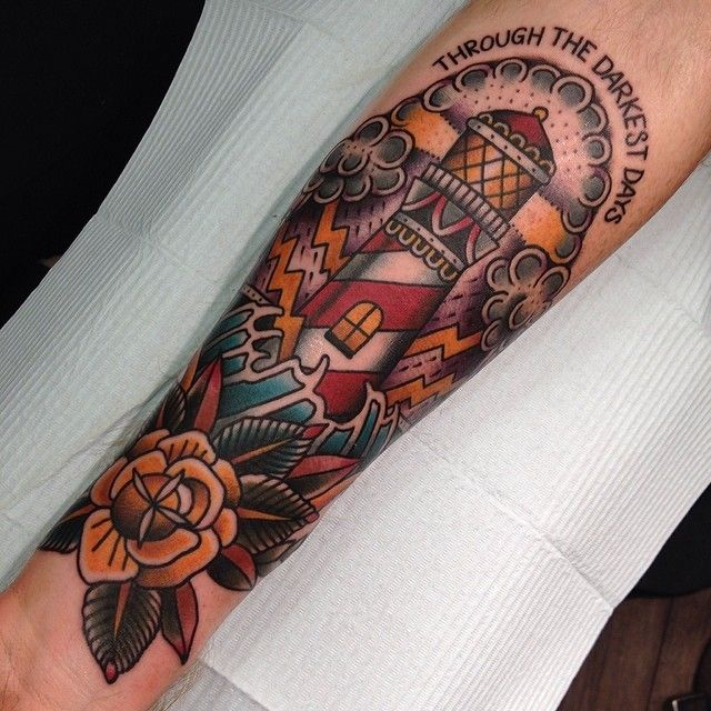 Fun lighthouse from last night #lighthouse #gastowntattoo #traditional #tattoo