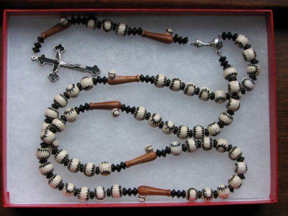 Custom Sports Themed Rosary BASEBALL Great FIRST COMMUNION Gift idea for boys or girls. $27.00, via Etsy.
