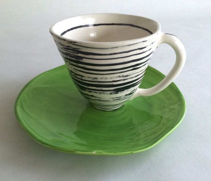 Breakfast Set. Includes one freeform side plate and a large...FANTASTIC mug. Many color options. Shown here is the bone-SWIRL mug and the plate in Pea. Microwave and dishwasher safe.  Did I hear you say you cant think of what to give your close friend or your childs' teacher? Sold as a set with 5% discount...or sold individually. Leawoodceramics.etsy.com