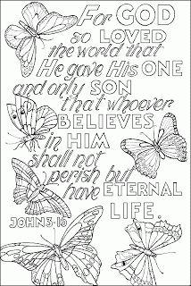 Children Coloring Page About Jesus Gods Son John 3 16 Bible Verse Wallpaper