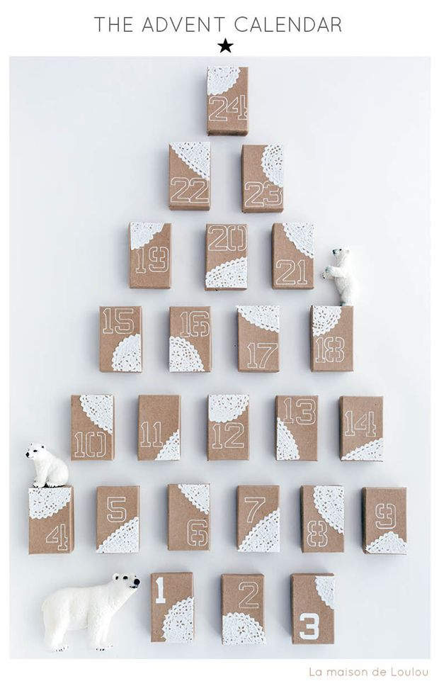 Kraft origami boxes handstamped : Holiday craft by La maison de Loulou :: Advent calendar