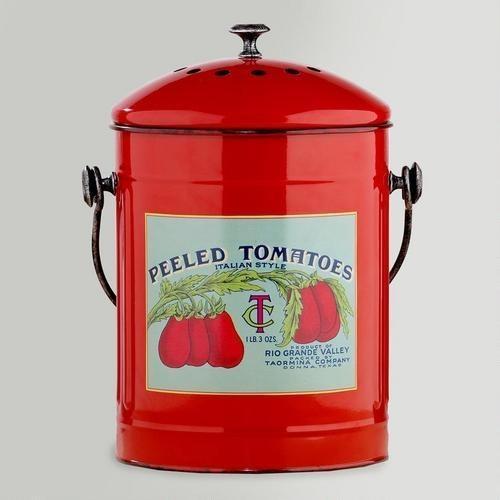 Metal Compost Bucket with Vintage Canning Label at Cost Plus World Market >> #WorldMarket Vintage Cool