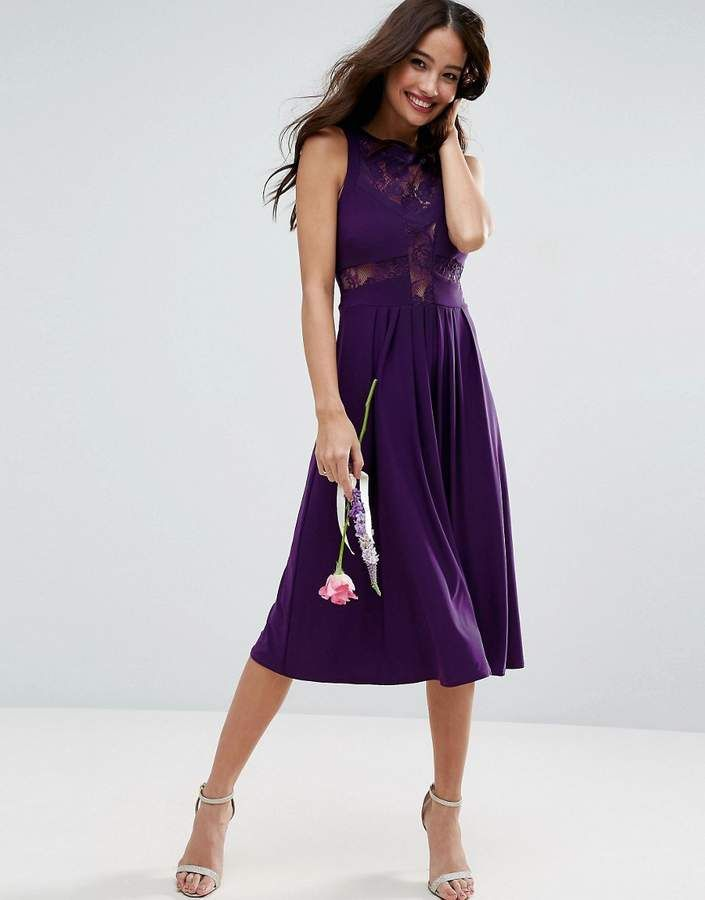 4add75404f Asos Womans Occasion Wedding Aubergine Purple Lace Jersey Pleated Midi Dress