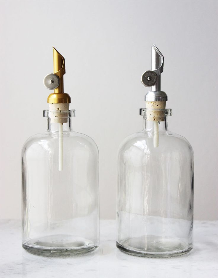 Self Pour Spout Recycled Glass Dispensers- Clear Glass - Apothecary by Rail19 on Etsy https://www.etsy.com/listing/124266124/self-pour-spout-recycled-glass