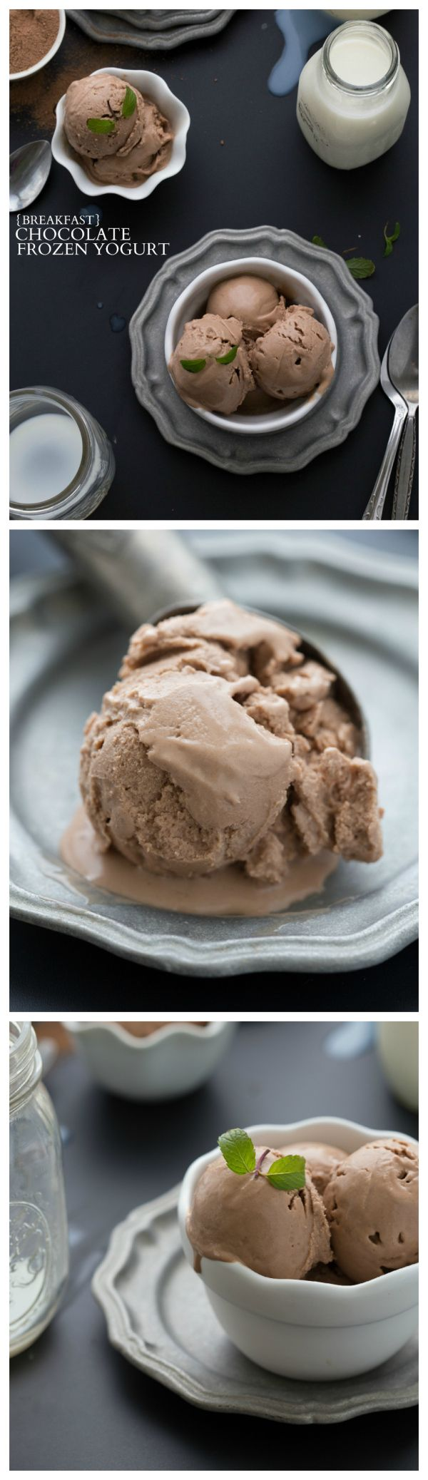 Breakfast Chocolate Frozen Yogurt I Simple, easy, and healthy! Only 5 ingredients! #cleaneating #vitamix Get FREE ground shipping on any blender purchase at Vitamix.com with code 06-006499