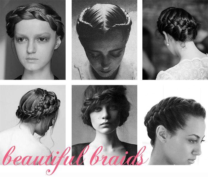 Wedding hairstyle ideas, a round-up of beautiful braids.  Louisa Bailey, Saty+Pratha, Gil Inoue, Martha Stewart.  #braid, #crown, #braidcrown #celebrity #hair