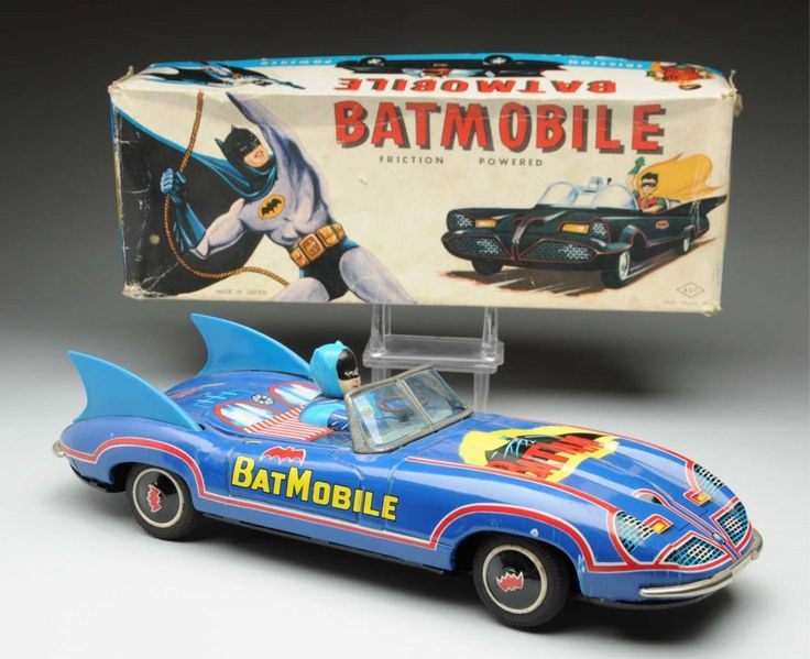 Japanese Tin Litho Friction Batmobile Toy