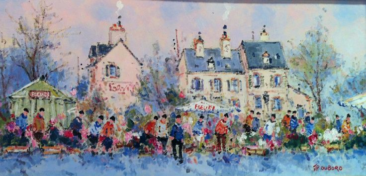 SOLD (now in Pennsylvania) Les Marche aux Fleurs, oil, 10x20. Great marketplace scene for a tight space. See more Dubord information: http://westportrivergallery.com/dubord-jean-pierre-french-benezit-impressionist.html