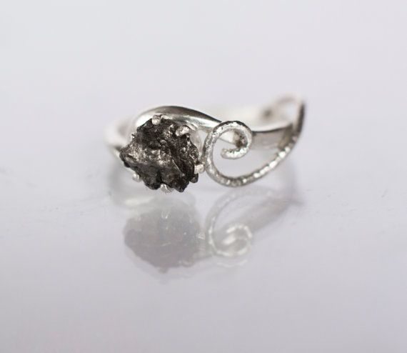 Meteorite Ring with Sterling Silver and Campo del Cielo - Engagement Ring Textured Swirly Swirl