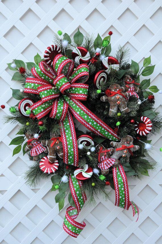 Christmas Wreath Holiday Wreath Candyland Wreath Whimsical