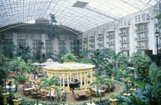 "OPRYLAND HOTEL, NASHVILLE, TENNESSEE......The biggest, most decadently decorated and expansive hotel I have ever seen.  There is as much nature inside as outside and you can walk for hours and never see the same view.  There are more shops than most malls and more restaurants than most small towns.  Staying at Opryland can only be called ""the experience of a  lifetime."""