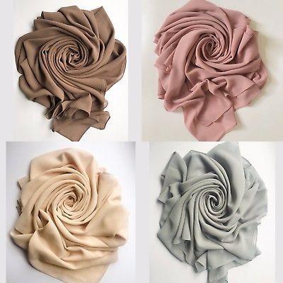 Chiffon Hijab Scarf Elegant High Quality Sarong Shawl Wrap Plain Maxi