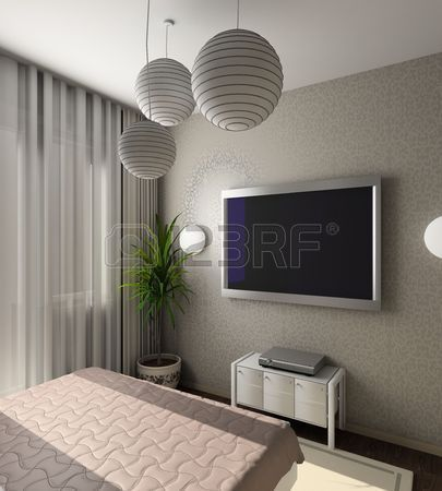iinterior moderne de chambre coucher avec tv 3d render d co chambre pinterest tv 3d tv. Black Bedroom Furniture Sets. Home Design Ideas